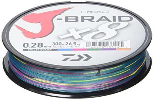 Daiwa J-Braid 8 Braid - Hilo de pescar trenzado multicolor (300 m), multicolor, Dm: 0,35mm