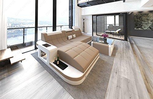 Sofa Dreams hoekbank Wave in stof als L-vormige hoekbank met LED-licht