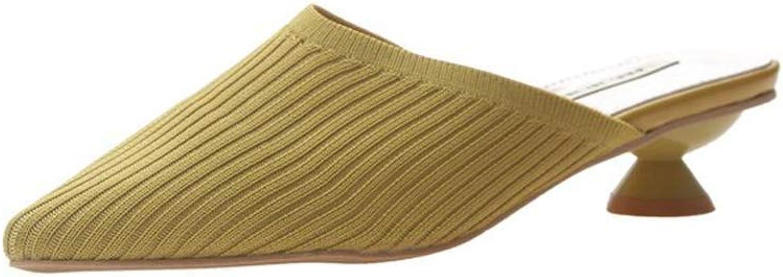 Women Summer shoes Not Leaking Toe Slipper Knitting Slipper Non-Slip Ladies Sandal Low-Heeled for Women Plus Size,Yellow,37