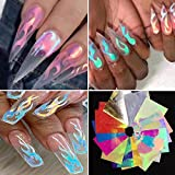 Flame Reflections Nail Stickers - 16PCS Holographic Fire Flame Nail Art Decals 3D Vinyls N...