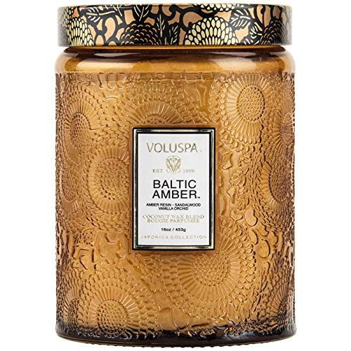 Voluspa Baltic Amber Large Embossed Glass Jar Candle, 18 Ounces
