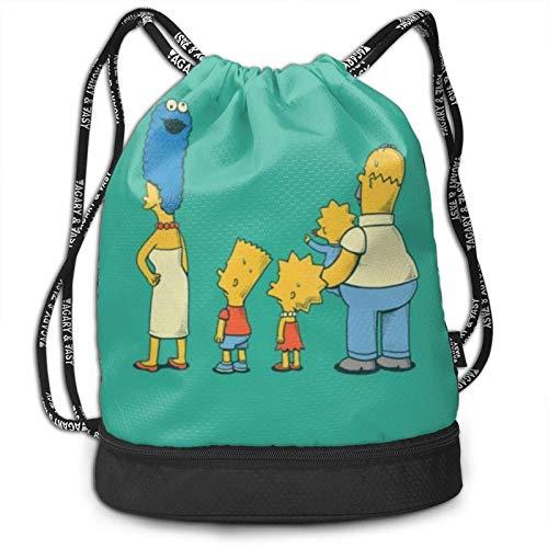 Hagerloo Mochila con cordón de Paquete de Dibujos Animados Simpson para Gimnasio, Bolsa de Cuerdas para Deportes, Escuela, Yoga, niños, Hombres y Mujeres, Mochilas de Viaje