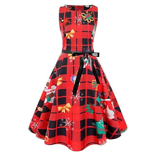 Dasongff Damen 1950er Vintage Cocktailkleid Rockabilly Retro Schwingen Kleid Faltenrock High Waist...