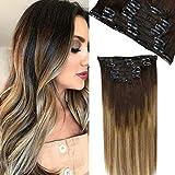 [Grande Promotion] LaaVoo Extension Cheveux Naturel Clip Marron Fonce a Brun Moyen et Cendre Blonde Double Weft Clip in Hair Extensions Remy Human Hair (120g/7pcs 18Pouce)