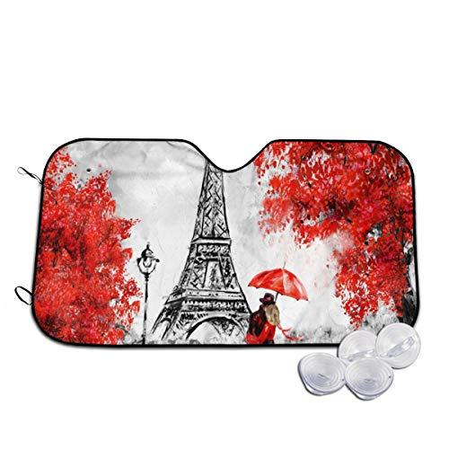 Rterss Parijs Liefhebbers Kus In Straat Rode Paraplu Eiffeltoren Gepersonaliseerde Voorruit Zon Schaduw Voorruit Glas Voorkomen De Auto Van Verwarming In