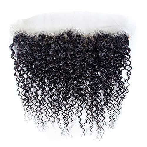 LilisiCurlyWaveLaceFrontalClosureEarToEar13x4BrazilianHumanHairLaceFrontalwithBabyHairNaturalBlackPrePluckedHairLineFreePartForWomen(14inch curly wave, Natural black)