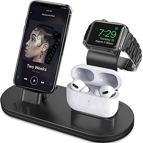 OLEBR 3 in 1 Charging Stand Compatible with iWatch Series 6/SE/5/4/3/2/1, AirPods Pro and iPhone Series 12/11 Series/Xs/X Max/XR/X/8/ 8P/7/7P/6S/6S Plus(Original Charger & Cables Required) Black