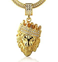 √ REAL GOLD PLATED - 18k Real Gold Plated Crown Lion Pendant, Dense Handset Artificial Diamonds Inlay.*Please aware that the product is only for decoration,not made of solid gold,have no investment value. √ FREE SHARK TAIL CHAIN - With A Golden Shark...