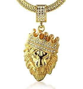 """Halukakah ● Kings Landing ● Männlich in 18 Karat Vergoldetete Krone Löwe Anhänger Halskette mit Kostenloser Fischschwanz 30""""/75cm Kette"""