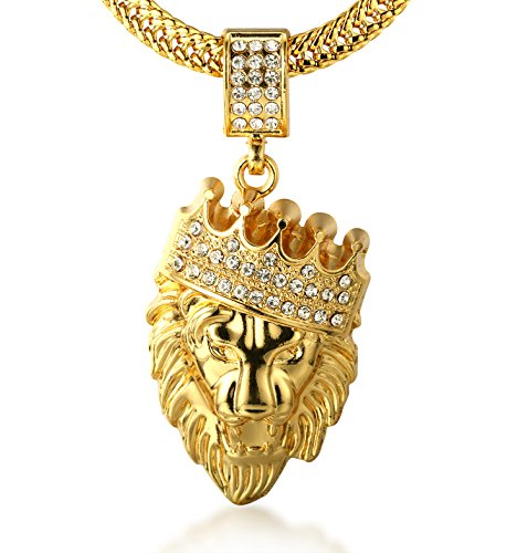 Halukakah  Kings Landing  Men's 18k Real Gold Plated Crown Lion Pendant Necklace Artificial Diamonds Set with Free Sharktail Chain 30'
