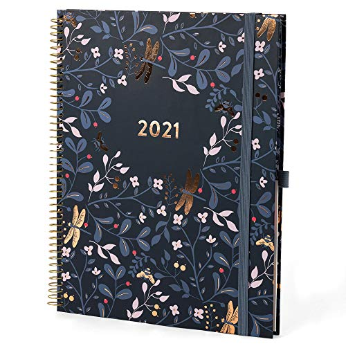 Boxclever Press 2021 Planner. Stunning 8.5 x 11 Weekly Planner runs Jan - Dec'21. Spacious Planner 2021 with Month Tabs, Dot Note Pages, Bill Trackers & Planner Stickers (Midnight Blue)