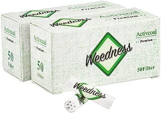 Weedness Filtro de carbón Activo Slim - 2x50 Puntas activas - 7 mm 100 Piezas - Puntas de Filtro de Rosca Filtro de Carbo Filtro Tips Papel de Fumar