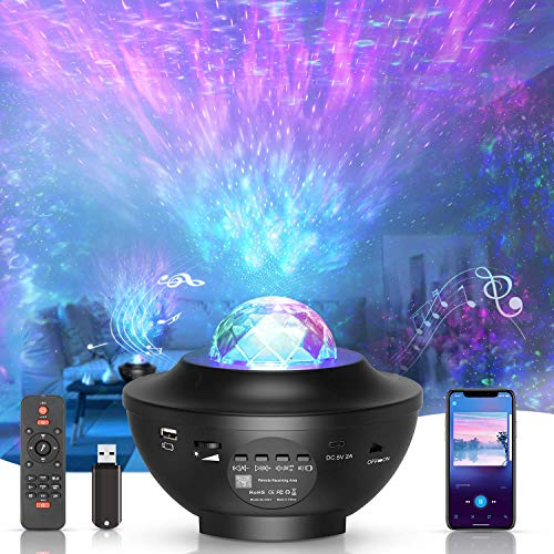 LED-Sternenhimmel Projektor,Rotierendes WasserwellenproJektorlicht,Ferngesteuertes Nachtlicht,Farbwechselnder Musikplayer mit Bluetooth,Geeignet für Baby-Erwachsenenpartys und Weihnachtsgeschenke