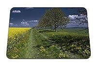 22cmx18cm マウスパッド (夏の畑の道の風景) パターンカスタムの マウスパッド