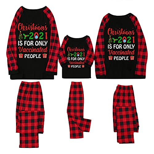 Christmas Pajamas for Family Christmas 2021 is for Only Vaccinated People Funny Sayings Printed Matching Sleepwear Pjs