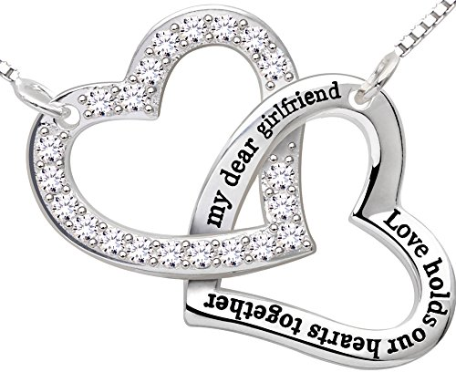 """ALOV Sterling Silver """"my dear girlfriend love holds our hearts together"""" Love Heart Cubic Zirconia Pendant Necklace"""