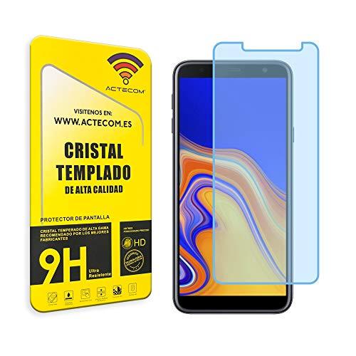 actecom® Protector Cristal Templado Compatible con Samsung Galaxy J4 Plus 9H 2.5D Pantalla