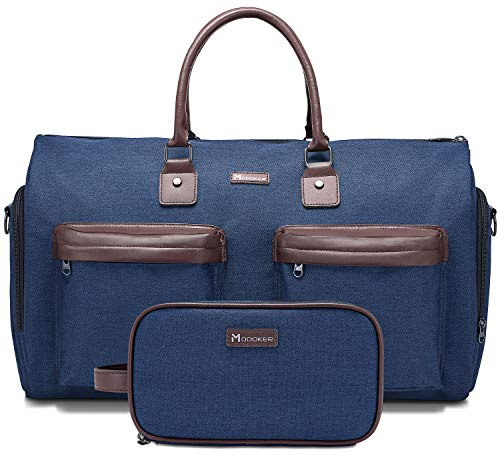 Modoker Travel Suit Duffel Garment Bags for Men,Women Carry on Cover Bag - 2 in 1 Hanging Suitcase Overnight Weekend Flight Bag, Blue