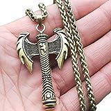 NICEWL Collar De Hacha Nórdica para Hombres Vikingos: Colgante De Amuleto Retro Hecho A Mano, Encanto De Tótem Guerrero Medieval Joyas Religiosas, Boda De Estilo Gótico, Bronce