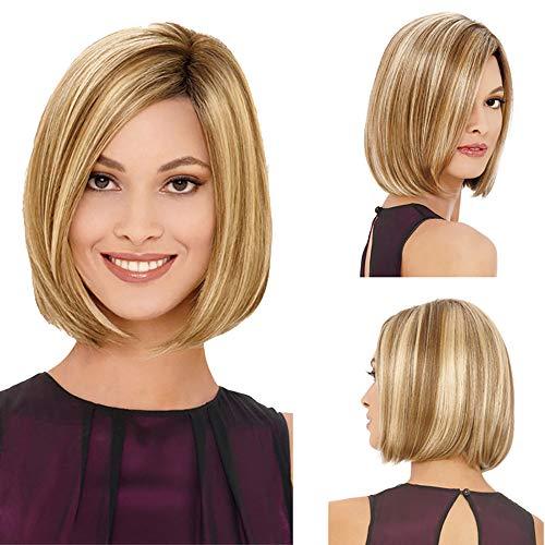 Pelucas cortas de Muamaly, pelo liso y corto, para mujeres y hombros, 32 cm, pelucas largas y rizadas, pelo sintético