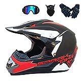 Casco de motocross con gafas/guantes/máscara/casco completo para bicicleta de montaña, casco de moto para ATV Downhill, protección de seguridad, 4 estilos disponibles (B, XL)