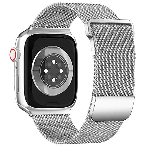 ToouYoor Ersatzarmband Kompatibel mit Apple Watch Armband 42mm 44mm 45mm, Metal Mesh Edelstahl Damen Herren Armband mit Magnet für iWatch Series SE 7/6/5/4/3/2/1,Silber