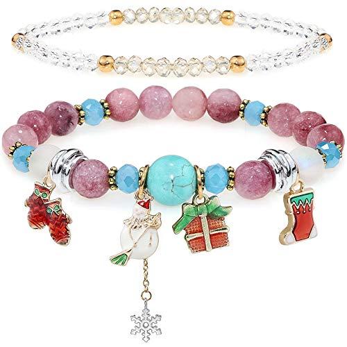 YooAi Multicouche Perles Bracelets Coloré Nature Pierre Yoga Perles Bracelets De Noël Corde Élastique Ajuster Bracelets Bijoux Cadeau pour Femmes Noël Bonhommes De Neige Chaussettes Violet