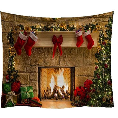 PiniceCore Tapiz de Navidad de Navidad Feliz Chrismas árbol Chimenea Medias tapices Tapiz para la Cama del Dormitorio Sala de Estar