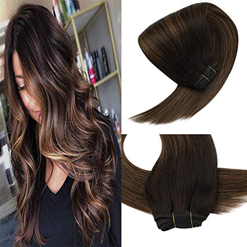 VeSunny Double Weft Sew in Human Hair Extensions Balayage Brown Root Fading to Medium Brown Highlights One Bundle Hair Weft Extensions Straight Human Hair 100g 24inch