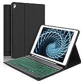Teclado con Funda Para iPad 9.7' Para iPad 2018/2017/Air 2/Air/Pro 9.7,Diseño en Español (Incluye Ñ) Teclado con Inalámbrico Retroiluminación Bluetooth con Carcasa Silicona Smart Cover,Negro