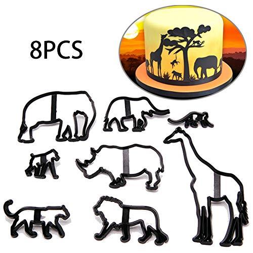 8pcs Patchwork Cutter - Safari Silhouette Set Cake Decorating Tool kit Kuchen dekorieren Werkzeug