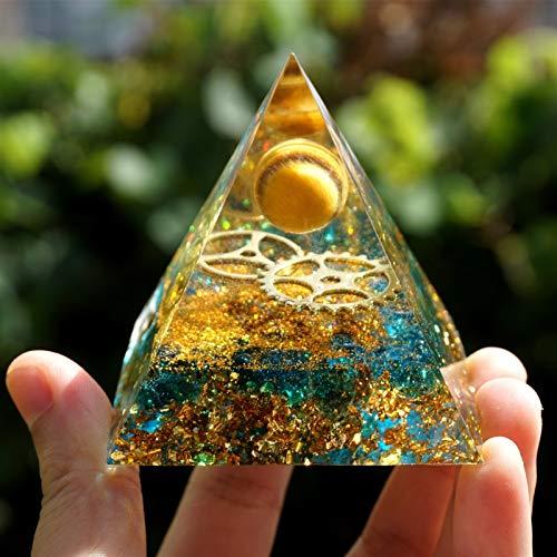 NBKLS Esfera del Ojo del Tigre de la pirámide con la Rueda de Engranaje de Cuarzo Azul Pyramid Crystal Reiki Meditación (Size : 60mm)