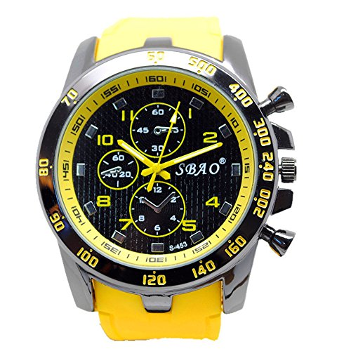 Relojes de pulsera Hombre Disfrutar de pulsera Relojes Cronógrafo Automático resistente al agua reloj deportivo para vacaciones de verano playa Sport manecillas luminiscentes. Reloj claro color amaril