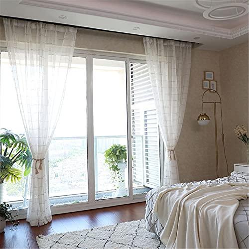 FACWAWF Cortina De Gasa Blanca A Cuadros Balcón Simple Sala De Estar Color Salvaje Cortina De Celosía Gasa Habitación De Los Niños Cortinas Semi-Opacas 2xW400xH270cm