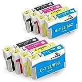 ONINO Cartuchos de Tinta T0711 T0712 T0713 T0714 (T0715) Compatible para SX110 SX610FW D78 D92 D120 DX400 DX4000 DX4050 DX4400 DX4450 DX5000 DX5050 DX6000 DX6050 DX7000 DX7400 DX7450 DX8400