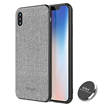 Magnetic Case iPhone X Case Slim Fabric Pattern Protective Magnet Back Cover PU Leather Defender Case with Magnet Car Mount - 5.8 inch Grey