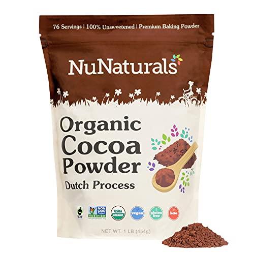 NuNaturals Premium Organic Cocoa Dutch Process Powder for Baking   Non-GMO   Fair Trade   1 LB