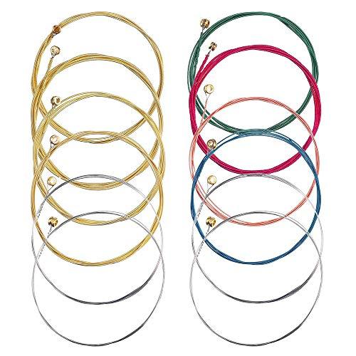 Gesh 2 juegos de 6 cuerdas de repuesto de acero para guitarra acústica, herramienta de cambio