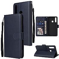 電話のフリップケースカバー Huawei Y7P、プレミアムPUレザーウォレットケース[手首ストラップ] Huawei Y7P用のID&クレジットカードポケット付きフリップフォリオ (Color : Blue)