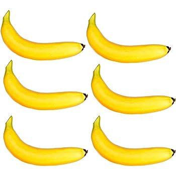 10x Bananen gelb Plastik Obst Kunstobst Deko Theke Obstkorb Theater