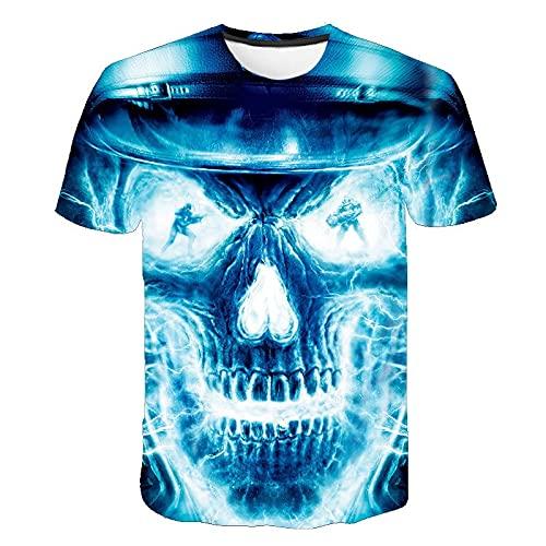Camiseta de Calavera para Hombre con Estampado de Calavera de Manga Corta para niños L