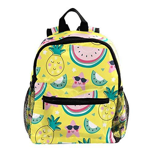 Rucksack für Mädchen Kinder Schultasche Kinder Büchertasche Frauen Casual Daypack Schwarz Gelb Herzen Gelbe Ananas 25.4x10x30 CM/10x4x12 in