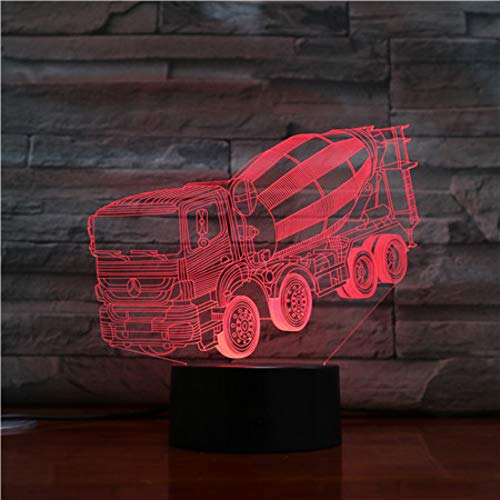 LPHMMD Nacht Licht Beton Agitator Mixer Vrachtwagen Led Nachtlampje 3D Illusie 7 Kleur Veranderende Kinderen Baby Nachtlampje Geschenken Lamp Slaapkamer