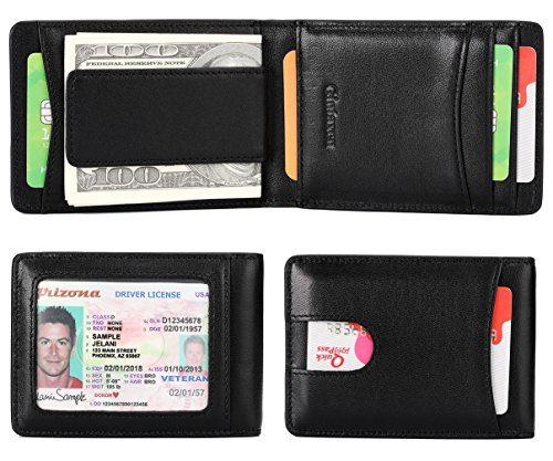 Mens Wallet Slim Genuine Leather Front Pocket Wallet for Men Billfold with ID Window Magnetic Money Clip Quick Access Slot and RFID Blocking - Black