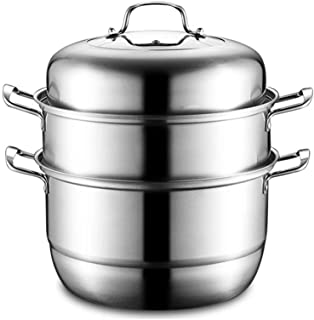 Xfc Stainless Steel Steamer 3 Tier Food Induction Steaming Pot Dim Sum Cookware Steamer, 12 Inch for Kitcken Cooking Tool