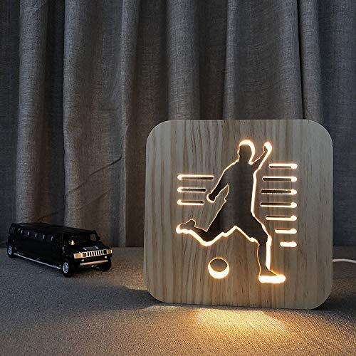 Jugar al fútbol Arte Luz de noche Artesanías de madera Led Luz de noche Regalos para que no tengas miedo a la oscuridad