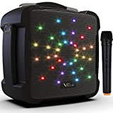 Portable Karaoke Machine, VeGue Bluetooth Speaker with Wireless Microphone, Powerful PA System with LED Lights, Remote Control, ECHO Effect, Supports TF Card/USB, Ideal for Kids & Adults Family Party