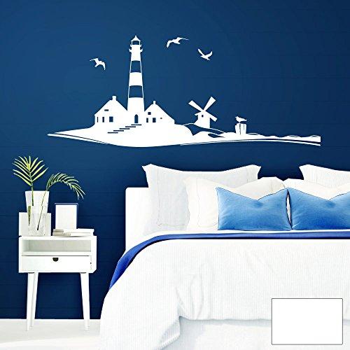 Grandora Wandtattoo Skyline Strand Leuchtturm Möwen I weiß (BxH) 120 x 49 cm I Schlafzimmer Wohnzimmer Sticker Aufkleber Wandaufkleber Wandsticker W946