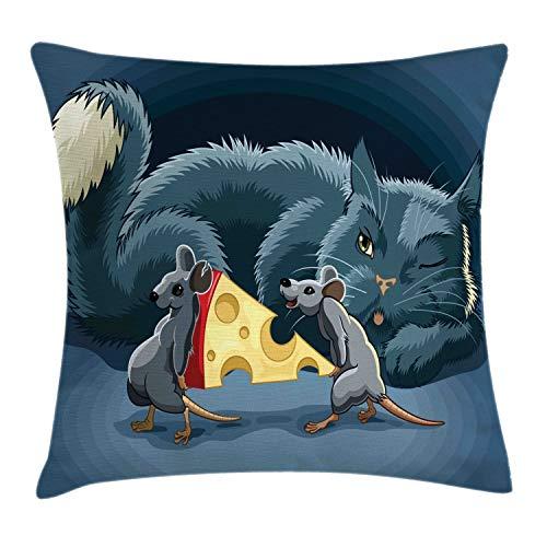 ABAKUHAUS Kat en muis Sierkussensloop, Muizen Kaas en een Kat, Decoratieve Vierkante Hoes voor Accent Kussen, 60 cm x 60 cm, Veelkleurig