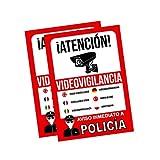 Pegatina alarma securitas | Cartel zona videovigilada adhesivo | Pegatinas de Videovigilancia | Aviso a la Policía Rojo - multilingüe (14,8 x 10,5 cm) (2 Piezas pegatinas videovigilancia)